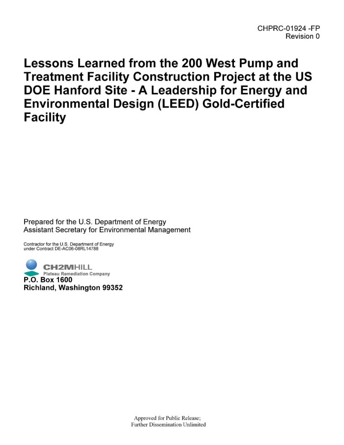 Lessons Learned From The 200 West Pump And Treatment Facility