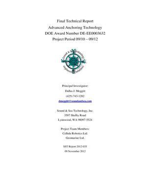 "Primary view of object titled 'Final Technical Report Advanced Anchoring Technology DOE Award Number DE-EE0003632 Project Period 09/10 -€"" 09/12'."