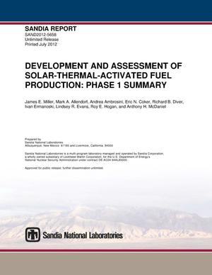 Primary view of object titled 'Development and assessment of solar-thermal-activated fuel production. Phase 1, summary.'.