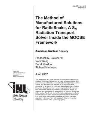 Primary view of object titled 'The Method of Manufactured Solutions for RattleSnake A SN Radiation Transport Solver Inside the MOOSE Framework'.