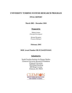 Primary view of object titled 'University Turbine Systems Research Program'.