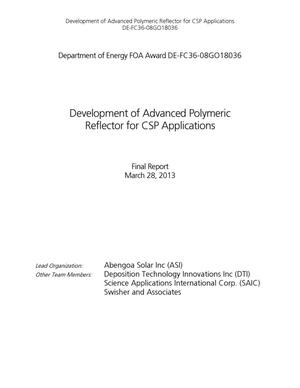 Primary view of object titled 'Development of Advanced Polymeric Reflector for CSP Applications - Final Report'.