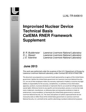 Primary view of object titled 'Improvised Nuclear Device Technical Basis CalEMA RNER Framework Supplement'.