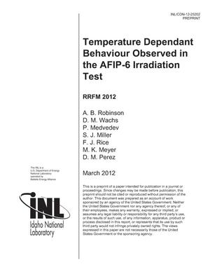 Primary view of object titled 'TEMPERATURE DEPENDANT BEHAVIOUR OBSERVED IN THE AFIP-6 IRRADIATION TEST'.