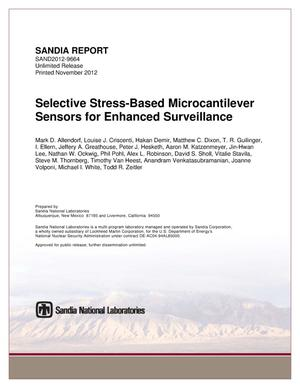 Primary view of object titled 'Selective stress-based microcantilever sensors for enhanced surveillance.'.