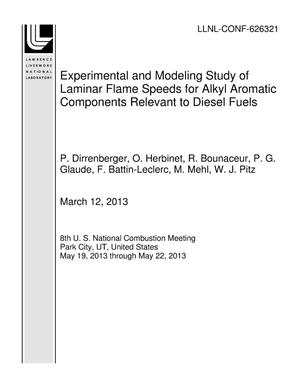 Primary view of object titled 'Experimental and Modeling Study of Laminar Flame Speeds for Alkyl Aromatic Components Relevant to Diesel Fuels'.