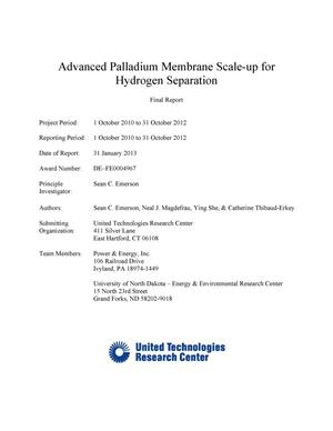 Primary view of object titled 'Advanced Palladium Membrane Scale-up for Hydrogen Separation'.