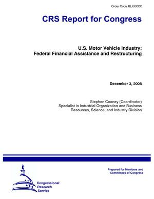 U.S. Motor Vehicle Industry: Federal Financial Assistance and Restructuring