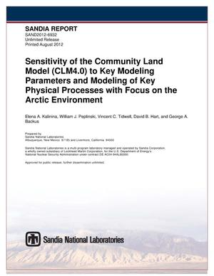 Primary view of object titled 'Sensitivity of the Community Land Model (CLM4.0) to key modeling parameters and modeling of key physical processes with focus on the arctic environment.'.
