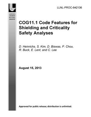 Primary view of object titled 'COG11.1 Code Features for SHielding and Criticality Safety Analyses'.