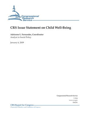 CRS Issue Statement on Child Well-Being