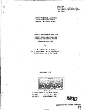 Primary view of object titled 'CHEMICAL ENGINEERING DIVISION BURNUP, CROSS SECTIONS, AND DOSIMETRY SEMIANNUAL REPORT, JANUARY--JUNE 1972.'.