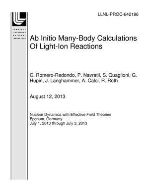 Primary view of object titled 'Ab Initio Many-Body Calculations Of Light-Ion Reactions'.