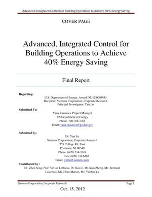 Primary view of object titled 'Advanced, Integrated Control for Building Operations to Achieve 40% Energy Saving'.