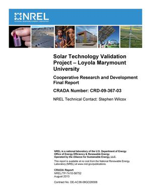 Primary view of object titled 'Solar Technology Validation Project - Loyola Marymount University: Cooperative Research and Development Final Report, CRADA Number CRD-09-367-03'.