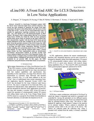Primary view of object titled 'eLine100: A Front End ASIC for LCLS Detectors in Low Noise Applications'.
