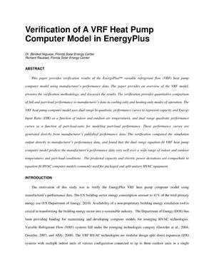 Primary view of object titled 'Verification of a VRF Heat Pump Computer Model in EnergyPlus'.