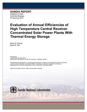 Primary view of object titled 'Evaluation of annual efficiencies of high temperature central receiver concentrated solar power plants with thermal energy storage.'.
