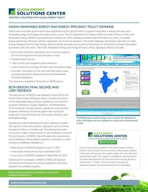 Primary view of object titled 'Indian Renewable Energy and Energy Efficiency Policy Database (Fact Sheet)'.