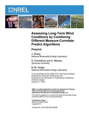 Primary view of object titled 'Assessing Long-Term Wind Conditions by Combining Different Measure-Correlate-Predict Algorithms: Preprint'.