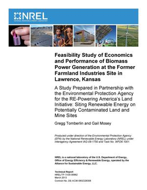 Primary view of object titled 'Feasibility Study of Economics and Performance of Biomass Power Generation at the Former Farmland Industries Site in Lawrence, Kansas.'.