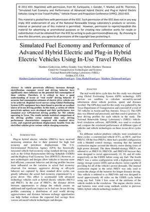 Primary view of object titled 'Simulated Fuel Economy and Performance of Advanced Hybrid Electric and Plug-in Hybrid Electric Vehicles Using In-Use Travel Profiles'.