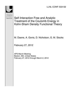 Primary view of object titled 'Self-Interaction Free and Analytic Treatment of the Coulomb Energy in Kohn-Sham Density Functional Theory'.