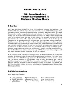 Primary view of object titled 'ES12; The 24th Annual Workshop on Recent Developments in Electronic Structure Theory'.