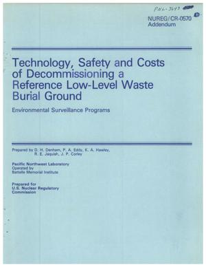 Primary view of object titled 'Technology, Safety and Costs of Decommissioning a Reference Low-Level Waste Burial Ground Environmental Surveillance Programs'.