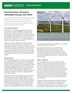 Primary view of object titled 'Securing Clean, Domestic, Affordable Energy with Wind (Fact Sheet)'.
