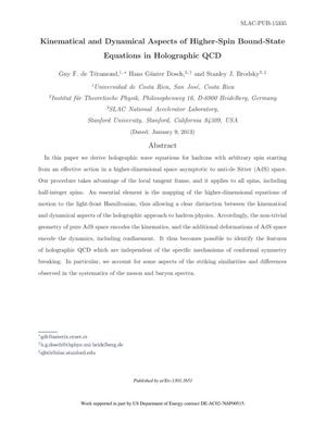 Primary view of object titled 'Kinematical and Dynamical Aspects of Higher-Spin Bound-State Equations in Holographic QCD'.