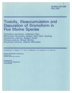 Primary view of object titled 'Toxicity, Bioaccumulation and Depuration of Bromoform in Five Marine Species'.
