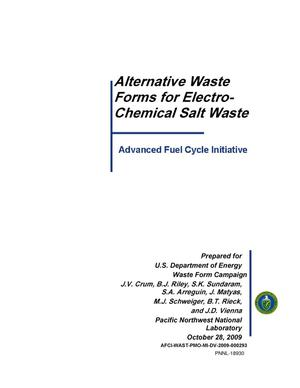 Primary view of object titled 'Alternative Waste Forms for Electro-Chemical Salt Waste'.