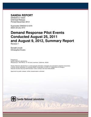 Primary view of object titled 'Demand response pilot events conducted August 25, 2011 and August 9, 2012.'.
