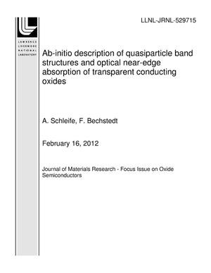 Primary view of object titled 'Ab-initio description of quasiparticle band structures and optical near-edge absorption of transparent conducting oxides'.