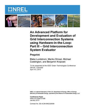 Primary view of object titled 'Advanced Platform for Development and Evaluation of Grid Interconnection Systems Using Hardware-in-the-Loop: Part III -- Grid Interconnection System Evaluator: Preprint'.