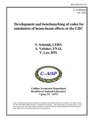 Primary view of object titled 'Development and benchmarking of codes for simulation of beam-beam effects at the LHC'.