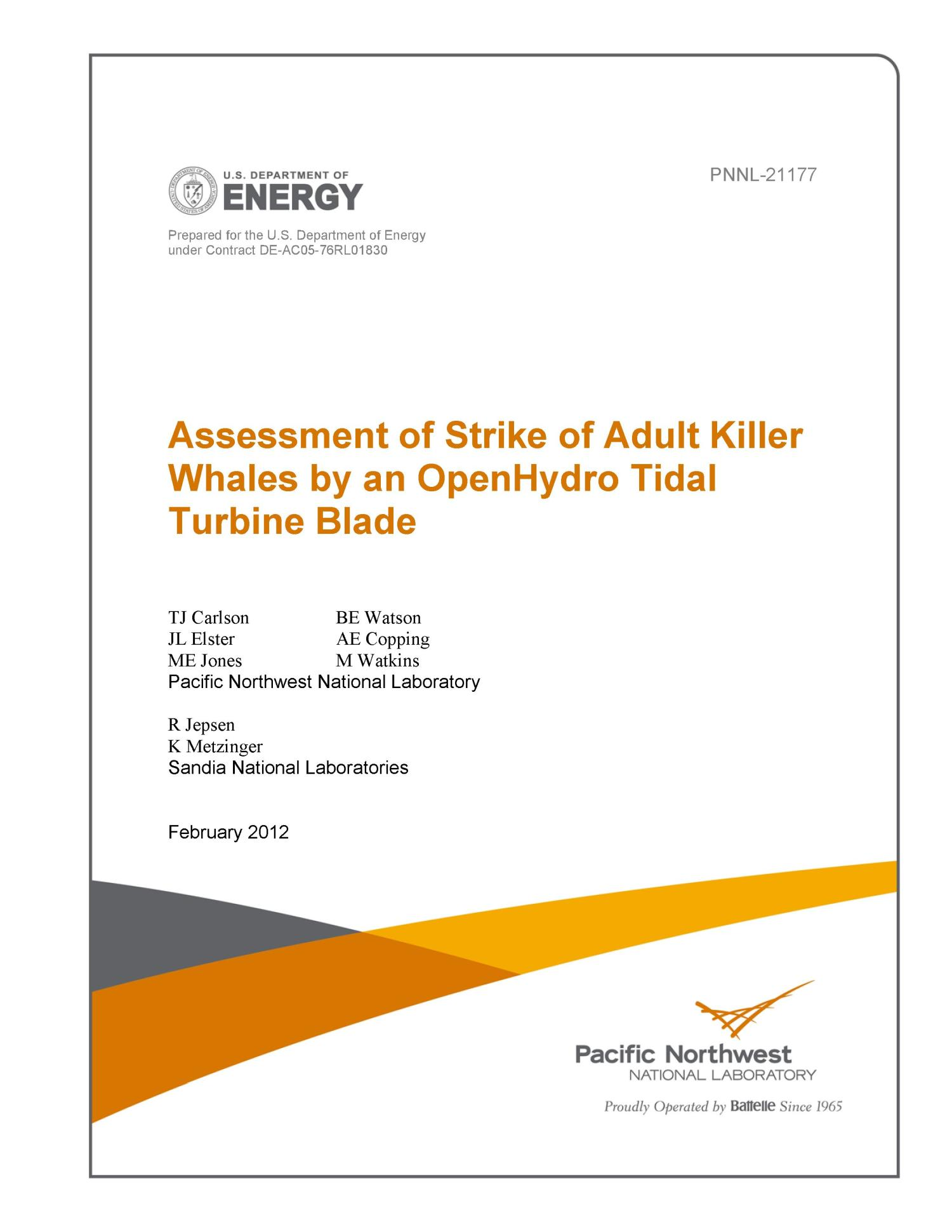 Assessment of Strike of Adult Killer Whales by an OpenHydro