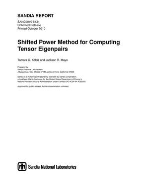 Primary view of object titled 'Shifted power method for computing tensor eigenpairs.'.