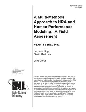 Primary view of object titled 'A Multi-Methods Approach to HRA and Human Performance Modeling: A Field Assessment'.