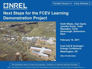 Primary view of object titled 'Next Steps for the FCEV Learning Demonstration Project (Presentation)'.
