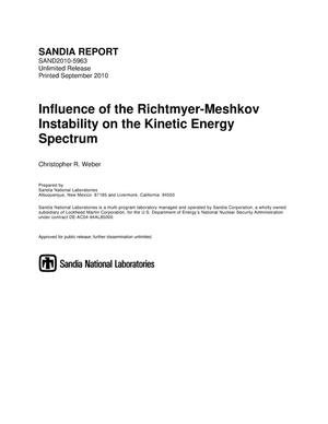Primary view of object titled 'Influence of the Richtmyer-Meshkov instability on the kinetic energy spectrum.'.
