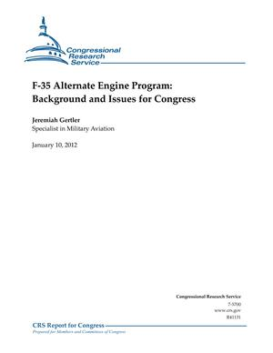 F-35 Alternate Engine Program: Background and Issues for Congress
