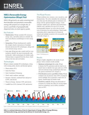 Primary view of object titled 'NREL's Renewable Energy Optimization (REopt) Tool: Models & Tools (Fact Sheet)'.