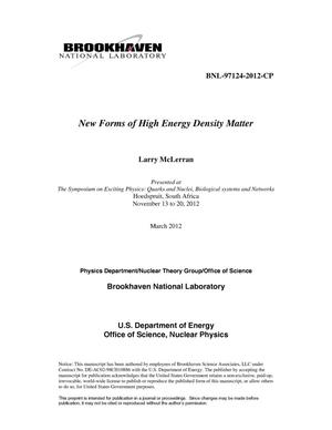 Primary view of object titled 'New Forms of High Energy Density Matter'.