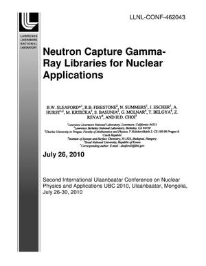 Primary view of object titled 'Neutron Capture Gamma-Ray Libraries for Nuclear Applications'.