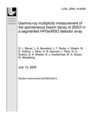Primary view of object titled 'Gamma-ray multiplicity measurement of the spontaneous fission decay of 252Cf in a segmented HPGe/BGO detector array'.