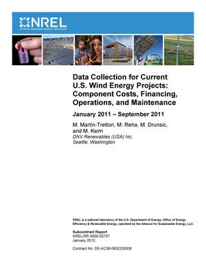 Primary view of object titled 'Data Collection for Current U.S. Wind Energy Projects: Component Costs, Financing, Operations, and Maintenance; January 2011 - September 2011'.
