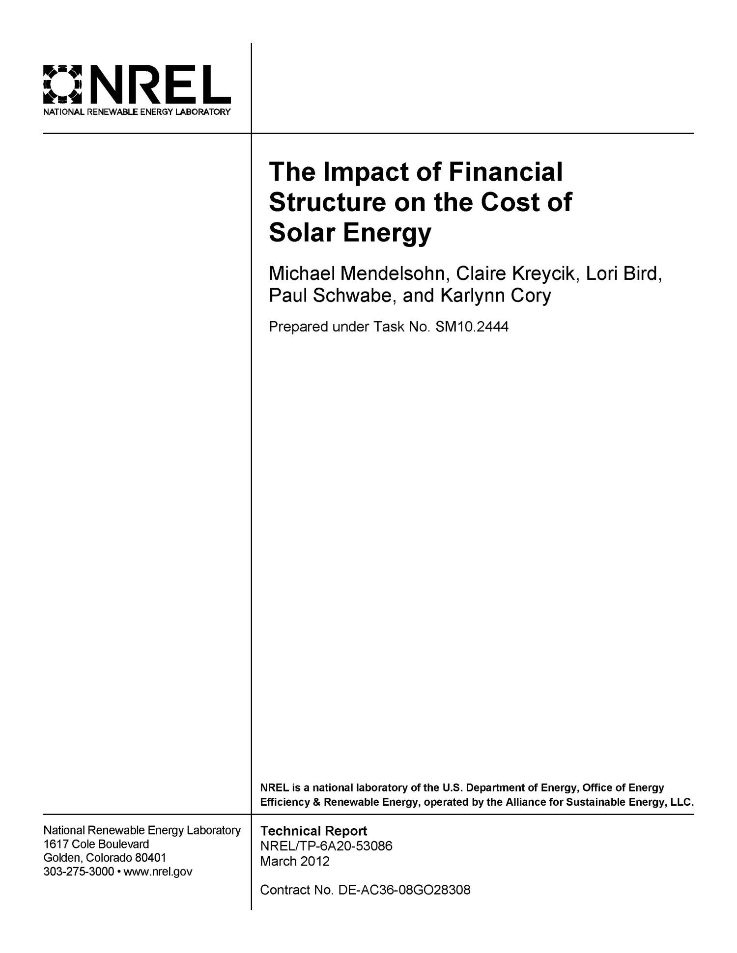 Impact of Financial Structure on the Cost of Solar Energy                                                                                                      [Sequence #]: 2 of 40