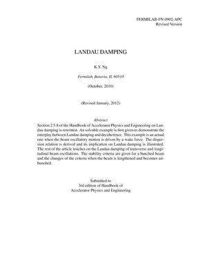 Primary view of object titled 'Landau damping'.